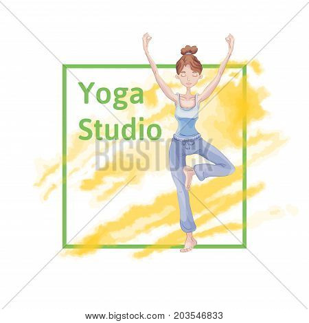 Young cute girl practice yoga, standing on one leg in the Lotus position. Yellow watercolor stain in the background. Template of poster or flyer for yoga studio. Vector illustration.