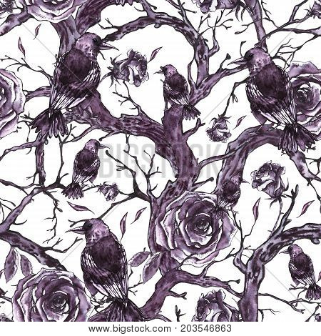 Monochrome watercolor hand drawn seamless pattern with tree branches, twigs, raven and roses. Natural texture. Black and white illustration on white background.