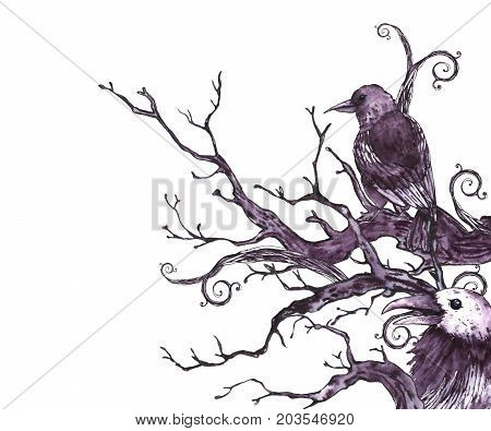 Monochrome watercolor hand drawn greeting card with tree branches, twigs and raven. Natural texture. Black and white illustration on white background.
