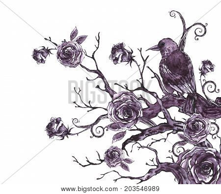 Monochrome watercolor hand drawn greeting card with tree branches, twigs, raven and roses. Natural texture. Black and white illustration on white background.