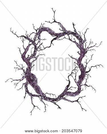 Monochrome hand drawn watercolor forest wreath or garland with tree branches, twigs. Black and white illustration on white background.