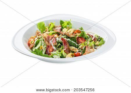Salad Bacon Sarada Plate - Isolated On White