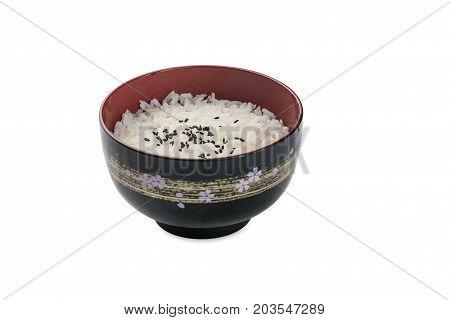 Bowl Of Organic White Rice - Isolated On White
