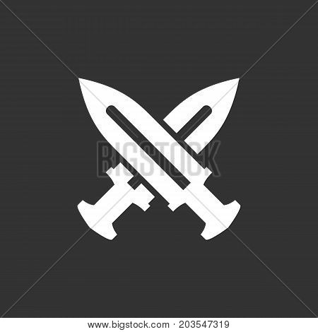 Cross swords icon isolated on black background. Cross swords vector logo. Flat design style. Modern vector pictogram for web graphics - stock vector