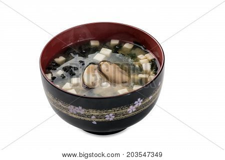 Miso Soup With Mussels Bowl Isolated On White