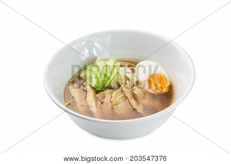Tori Ramen - Chicken Noodle Soup Bowl Isolated On White