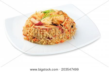 Yasai Tyahon - Rice With Seafood Plate - Isolated On White