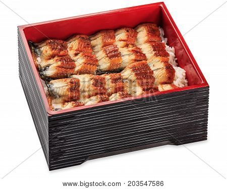 Unagi Dzu - Eel With Rice Box - Isolated On White