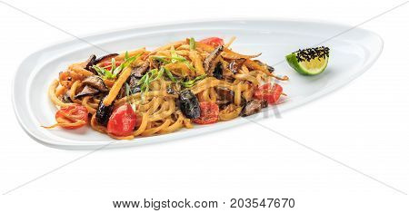 Yasai Udon Yaki - Noodles With Vegetables Plate - Isolated On White