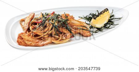 Tori Udon - Noodles With Hen Plate - Isolated On White