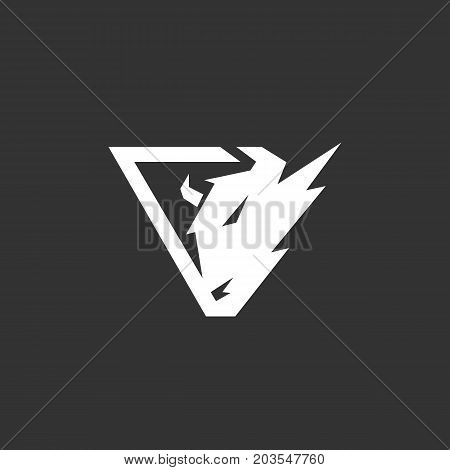 Buffalo icon isolated on black background. Buffalo vector logo. Flat design style. Modern vector pictogram for web graphics - stock vector