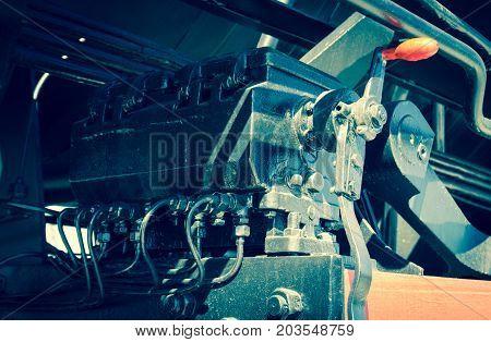 Steam locomotive with tender . Details .