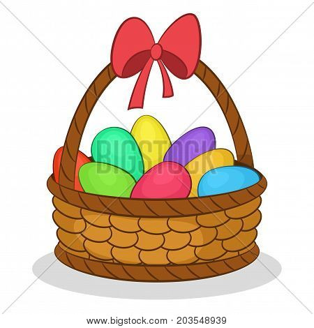 Holiday Easter Wattled Basket with Colorful Painted Chicken Eggs and Red Bow on the Handle. Vector