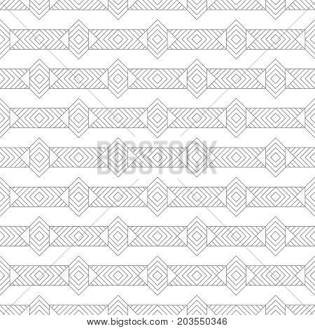 Vector seamless pattern. Modern geometrical texture with regularly repetition rectangle shapes linear rhombuses diamonds triangles. Thin line. Trendy design.