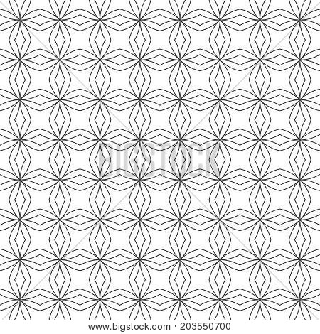 Vector seamless pattern. Modern geometrical texture with regularly repetition stars rhombuses. Trendy design. Contemporary linear background