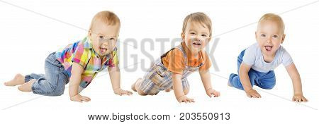 Baby Boys Group Crawling Infant Kid Toddler Child Crawl over White
