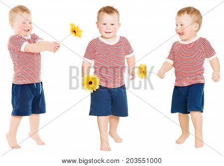 Child Boy with Flower Happy Kid Isolated over White Toddler two years old