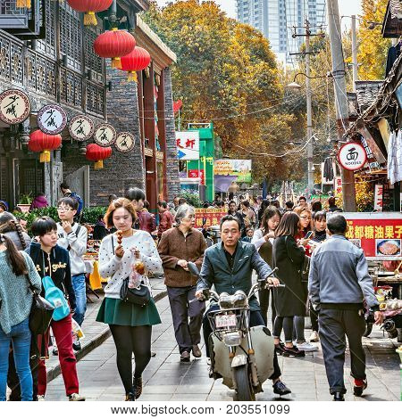 Chengdu China - October 29 2016: Crowdy market by Wenshu monastery in the city center
