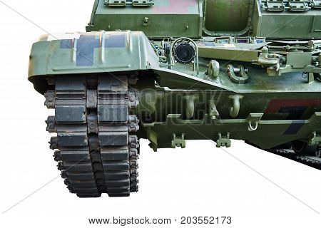 Fragment of the front of the self-propelled artillery gun. Isolated on a white background