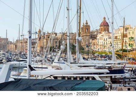 Boats And Yachts Anchoring In Valletta, Malta