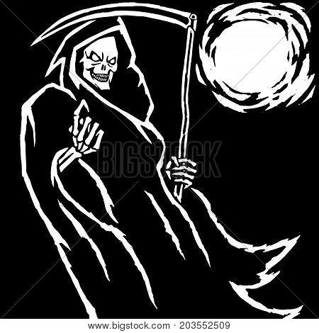 Black Death Vector Illustration. Spooky Apocalypse Demon. Spirit Rock Skull. Ghost Skeleton.