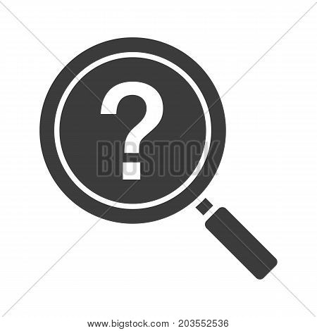 Problem solution search glyph icon. Magnifying glass with question mark. Silhouette symbol. Negative space. Vector isolated illustration