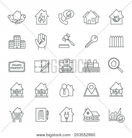 Real estate market linear icons set. Property development thin line symbols. Building business. Home, house, blueprint, buy, rent and sell signs. Isolated vector outline illustrations. Editable stroke