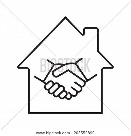 Real estate deal linear icon. Realty business agreement thin line illustration. House with handshake inside contour symbol. Property purchase. Vector isolated outline drawing