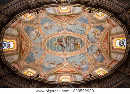 Painted Baroque Ceiling In A Catholic Church, Malta