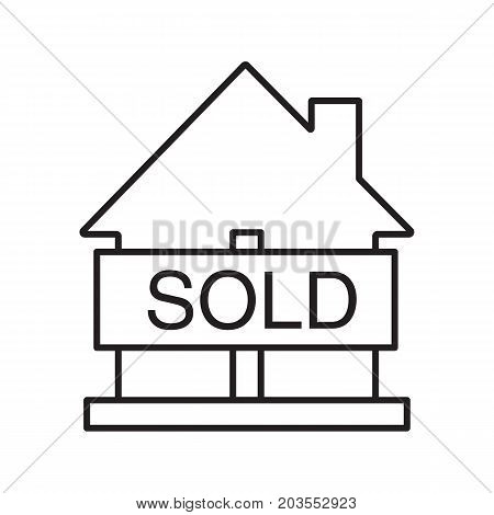 Sold house linear icon. Real estate purchase thin line illustration. House with sold sign contour symbol. Building business. Vector isolated outline drawing