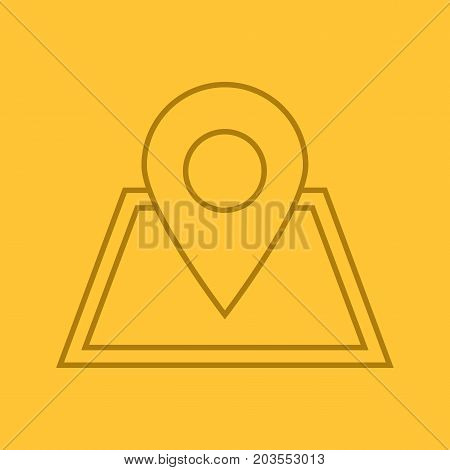 Building location pinpoint color linear icon. Real estate development. Thin line outline symbols on color background. House planning. Vector illustration