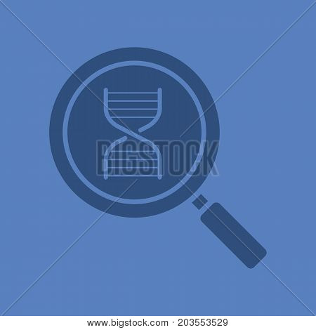 DNA research glyph color icon. Silhouette symbol. Magnifying glass with DNA chain model. Negative space. Vector isolated illustration