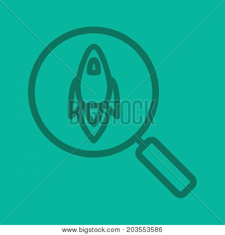 Startup project search color linear icon. Magnifying glass with spaceship. Thick line outline symbols on color background. Vector illustration