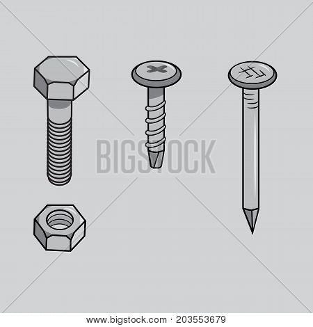 Vector bolt, nut, screw and nail. Isolated metal ware on grey background.