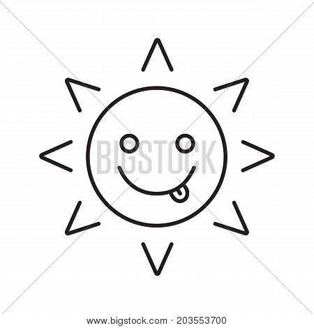 Yummy sun smile linear icon. Tease smiley thin line illustration. Contour symbol. Silly, goofy, foolish sun emoticon. Vector isolated outline drawing