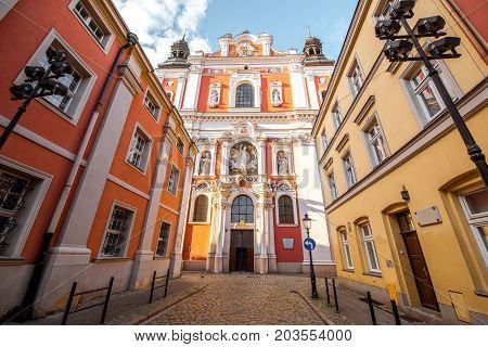 View on the facade of the Fara church in Poznan, Poland