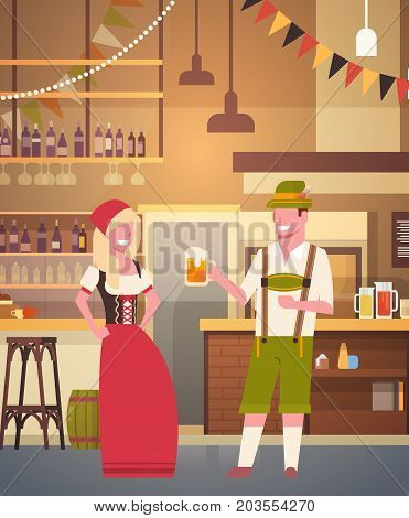 Couple In Pub Wearing Traditional Clothes Drink Beer In Bar Oktoberfest Party Celebration Man And Woman Fest Concept Flat Vector Illustration