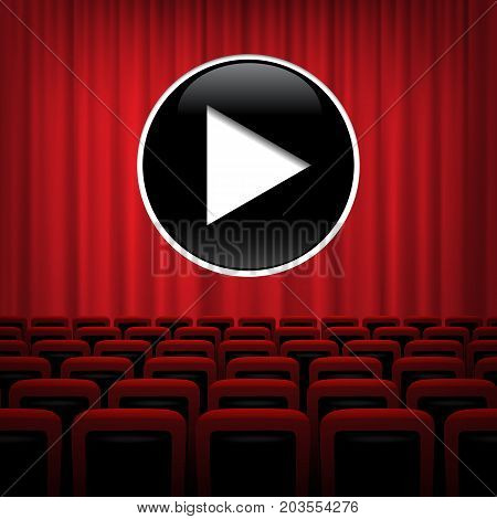 Theater background with red curtains, chairs and play symbol. Vector illustration.
