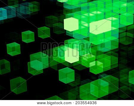 Green and black technology background. Fractal art - futuristic structure of chaos glowing cubes. Abstract computer-generated image. Tech style wallpaper or backdrop for creative design projects.