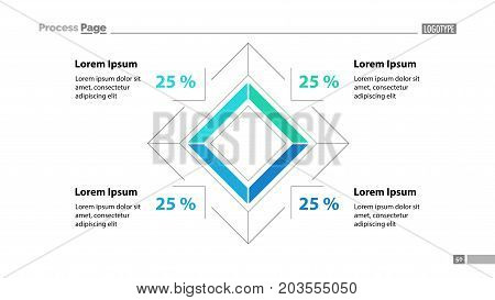 Percentage rhomb diagram template. Business data. Graph, chart, design. Creative concept for infographic, report. Can be used for topics like economics, analysis, research