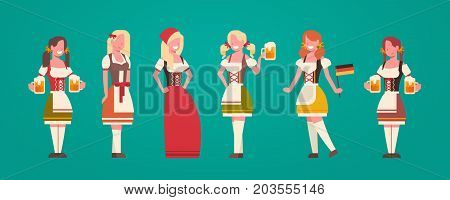 Group Of Woman Waitress Wearing German Traditional Clothes Female Holding Beer Mugs Oktoberfest Concept Flat Vector Illustration
