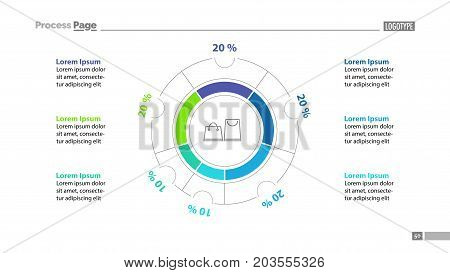 Shopping bags inside circle diagram template. Business data. Graph, chart, design. Creative concept for infographic, report. Can be used for topics like consumerism, marketing, statistics