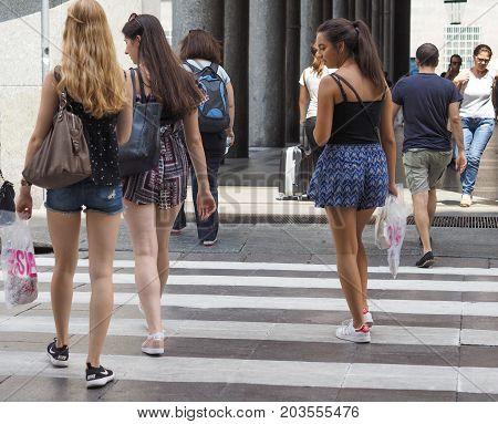 People In Via Roma In Turin