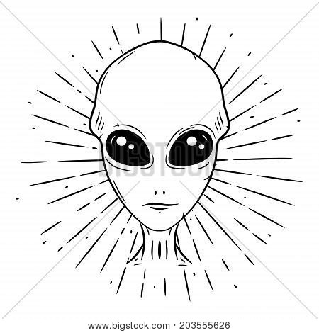 Hand drawn vector illustration with a Alien and divergent rays. Used for poster, banner, web, t-shirt print, bag print, badges, flyer, logo design and more. Cartoon alien face. Alien head.