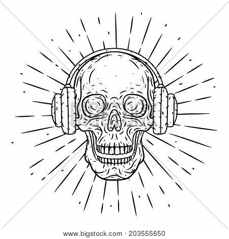 Hand drawn vector illustration Skull with headphones and divergent rays. Used for poster, banner, web, t-shirt print, bag print, badges, flyer, logo design and more. Cartoon skull