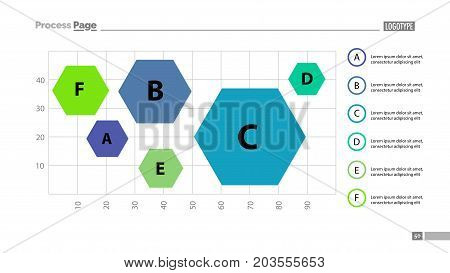 Six hexagons on chart template. Business data. Graph, chart, design. Creative concept for infographic, report. Can be used for topics like statistics, comparison, analysis