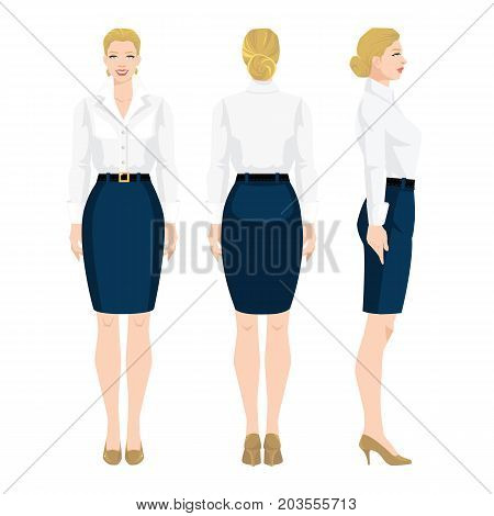 Vector illustration of woman in formal blue skirt, white blouse and shoes on hight heel on white background. Various turns woman's figure. Front view and back view.