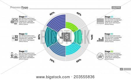 Six stages in circle diagram template. Business data. Graph, chart, design. Creative concept for infographic, report. Can be used for topics like money, finances, management