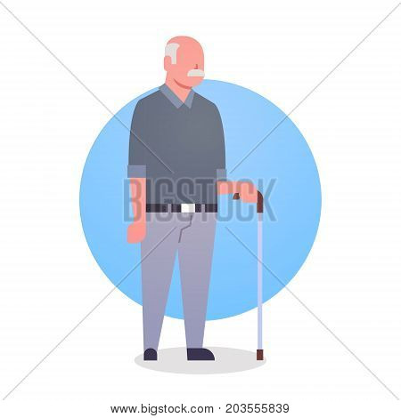 Senior Man With Stick Grandfather Gray Hair Male Icon Full Length Flat Vector Illustration