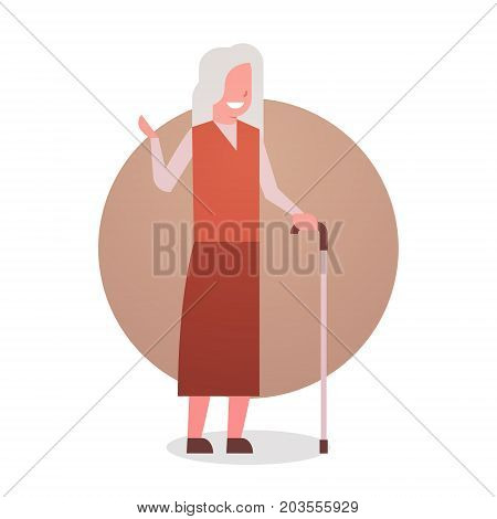 Senior Woman With Stick Happy Smiling Grandmother Gray Hair Female Icon Full Length Lady Flat Vector Illustration